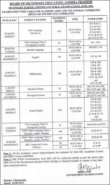 BSEAP SSC Exams Time Table June 2021