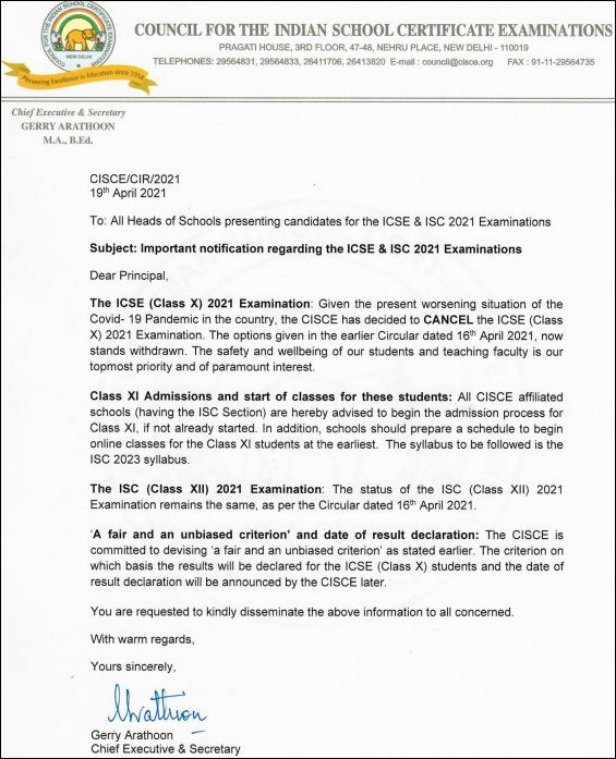 ICSE Exams 2021 cancelled