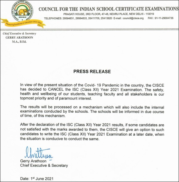 CISCE ISC Exams Cancellation Notice 2021